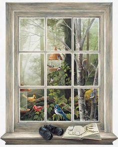 Interior Place - Bird Watching Window Wall Mural, $63.69 (http://www.interiorplace.com/bird-watching-window-wall-mural/)