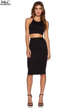 FANALA Skirts Womens Summer 2017 OL Slim Fitted High Waist Skirt Knee Length  Straight Pencil Skirt Back Zipper Black Plus Size 24adf7212d1a