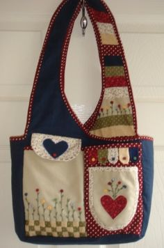 The Bobbin Patch :: Kits :: Bag kits :: Pocket garden bag-Navy with Red spots Patchwork Bags, Quilted Bag, Garden Bags, Sewing Aprons, Craft Bags, Denim Bag, Purse Patterns, Fabric Bags, Handmade Bags