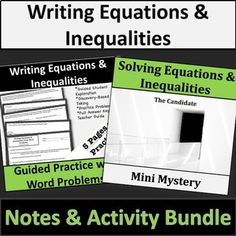 Writing and Solving Equations & Inequalities Bundle! Algebra Equations, Solving Equations, Guided Practice, Writing Practice, Word Problems, Mystery, Teacher, Amp, Activities