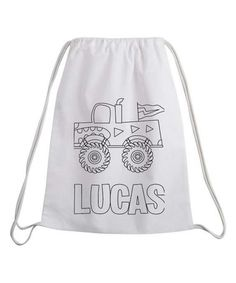 Another great find on #zulily! Monster Truck Color-On Personalized Drawstring Bag #zulilyfinds
