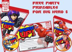 Awesome FREE party printables for a Big Hero 6 birthday party!  DIY Big Hero 6 banner, cupcake toppers, invitations, gift tags, and more!