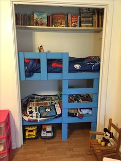 Beautiful Toddler Bunk Beds In A Closet. This Leaves So Much Space In The Boys Room