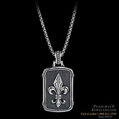 Scott Kay for Men Mens sterling silver fleur de lis necklace from Pearlman's Jewelers