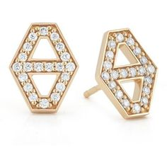 Walters Faith Keynes ($1,850) ❤ liked on Polyvore featuring jewelry, earrings, gold, 18 karat gold jewelry, 18 karat gold earrings, 18k earrings, 18k jewelry and hexagon stud earrings