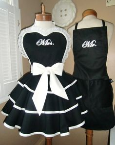 Mr. and Mrs. Custom Bridal Aprons...Perfect Bridal Shower Gift...Choose Your Colors, Custom Order Embroidery Of Your Choice. $100.00, via Etsy.