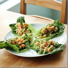 Quick, easy, healthy: confetti quinoa and chickpea lettuce wraps
