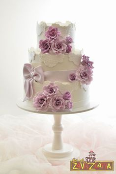 Lace Purple Roses & Bow ake