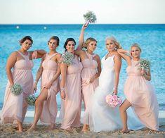 Pale Pink Egyptian Collar Bridesmaid Dresses