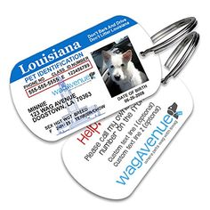 Louisiana Driver's License Pet Tag - Durable Stainless Steel Dog Id Tag, Personalized Pet Tag, Custom Pet Tag, Dog License Id * You can find more details at