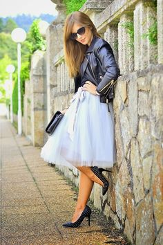 Love how this tulle skirt is paired with leather jacket