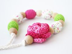 Nursing necklace with flower Hot pink lime by 100crochetnecklaces, $22.00