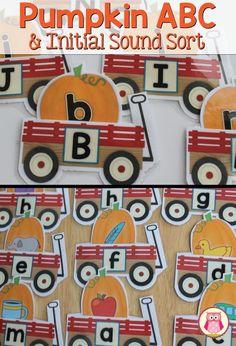 Pumpkin patch ABC match and beginning sound sort.  Kids can put the pumpkins inside the wagon pouch. A fun pumpkin activity for your preschool, pre-k, kindergarten literacy center. ...perfect for a pumpkin, Halloween, fall, or October thematic unit. https://www.teacherspayteachers.com/Product/Pumpkins-Pumpkin-ABC-and-Initial-Sound-Matching-for-Preshool-and-Kindergarten-2105730