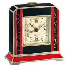 Cartier Silver and Red and Black Enamel 8-Day Desk Timepiece circa 1920s | From a unique collection of vintage desk accessories at https://www.1stdibs.com/jewelry/objets-dart-vertu/desk-accessories/