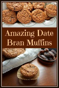 Date bran muffins. I know I said the B word, but don't click away just yet.these really are surprisingly amazing date bran muffins. Brunch Recipes, Gourmet Recipes, Baking Recipes, Breakfast Recipes, Dessert Recipes, Breakfast Muffins, Desserts, Sour Milk Recipes, Breakfast Biscuits