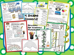 "4 ""Spell""- Tacular Spelling Centers!  These fun centers will help your students practice their spelling words using word sorts, unscrambling words, and alphabetical order!  FUN dolphins and monkeys are just part of the excitement.  Comes with teacher and student directions, lots of fun templates, and worksheets!!"