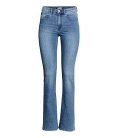 bootcut trousers in washed superstretch twill with a regular waist. Trousers Women, Pants For Women, Slim Fit Pants, Online Shopping For Women, Pyjamas, Dance Wear, Blue Denim, Bell Bottom Jeans, Fashion Online