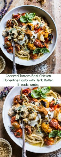 Charred Tomato Basil Chicken Florentine Pasta with Herb Butter Breadcrumbs… Chicken Spinach Recipes, Basil Chicken, Veggie Recipes, Pasta Recipes, Cooking Recipes, Healthy Recipes, Recipe Chicken, Dinner Recipes, Italian Chicken