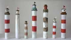#Driftwood lighthouse idea by  Kirsty Elson Designs. Find a Sea of Crafts & DIY Projects on Completely Coastal: http://www.completely-coastal.com/p/crafts-diy-projects.html
