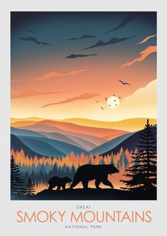 Mother Bear and Cub in foreground of the Great Smoky Mountains, National Park Art Poster Print Minimalist Poster, Poster, Art Print, Art Great Smoky Mountains, Illustrations, Illustration Art, Mountain Illustration, Park Art, Smoky Mountain National Park, Mountain Art, Poster Prints, Art Prints