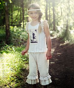 Another great find on #zulily! Beige Double Ruffle Capri Pants - Infant, Toddler & Girls #zulilyfinds