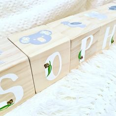 Excited to share this item from my #etsy shop: Personalised Wooden Letter Name Blocks in Australian Animals theme