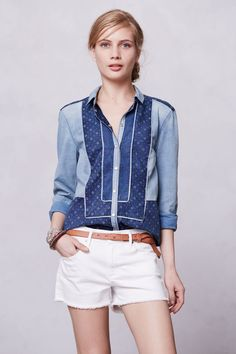 Patchwork Chambray Buttondown - Anthropologie.com