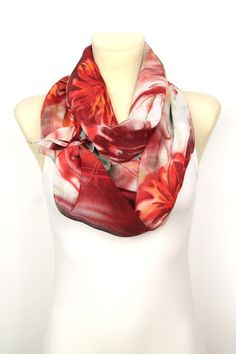 Red Floral #Scarf #handmade and available on #etsy now