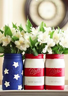 Mason jars might be yesterday's DIY trend, but these red, white and blue ones are still adorable, no?