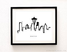 Seattle Cityscape Print.  * Frame is NOT included.  Digitally printed with UltraChrome inks on matte white archival heavyweight paper.  Packaged in a clear sleeve with backing. To see more cityscapes: www.etsy.com/ca/shop/AldariArt?section_id=13321365  ---  Larger sizes available:  Get it in 11x14 https://www.etsy.com/listing/66060290/11x14-any-print  Get it in 13x19 https://www.etsy.com/listing/81636053/13x19-any-print  Get it for the IKEA RIBBA Frame Size 16 ½ x 20 ½…