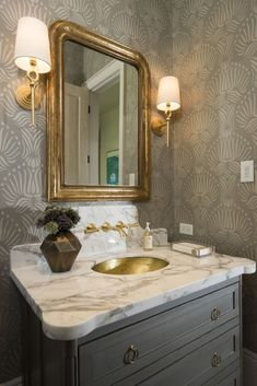 Bathroom Design & Decor - 7 Great Ideas for Your Bathroom Remodel - Ribbons & Stars Powder Room Vanity, Powder Room Wallpaper, Powder Room Decor, Powder Room Design, Bathroom Wallpaper, Powder Rooms, Diy Bathroom Decor, Bathroom Interior, Small Bathroom