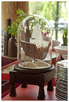 Old Book, scissors, bell jar, sand...Come sail away with me!