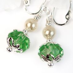 Green Crystal and Pearls Clip On Earrings, Short Dangles, Non Pierced | PrettyGonzo - Jewelry on ArtFire