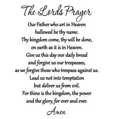 The Lords Prayer Vinyl Wall Decal Bible Quote Christian Scripture Praying Words Prayer Wall, Prayer Scriptures, Prayer Quotes, Faith Quotes, Bible Quotes, Lord's Prayer, Bible Verses, Meal Prayer, Christ Quotes