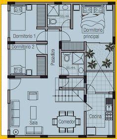 PLANO DE VIVIENDA DE 8m x 10m by planosdecasas.blogspot.com