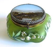 Antique jewelry glass box. Souvenir de France. Enameled art-nouveau decor.French glassware.