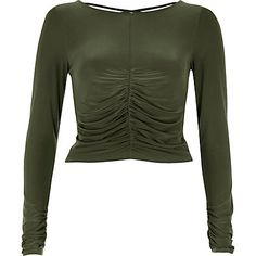Khaki green ruched front top $44.00