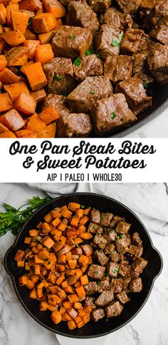 This one-pan meal of steak bites and sweet potatoes is nourishing, filling, and delicious! It's paleo, whole30, and AIP-friendly.