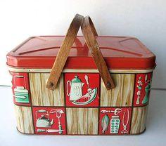 Vintage Picnic Basket Tin