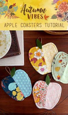 "These ""Apple Coasters"" are a great gift for the upcoming holidays! Using Autumn Vibes Fabrics designed by Maureen Cracknell and Art Gallery Fabrics' Elements, these easy sewing projects! sew einfach clothes crafts for beginners ideas projects room Fall Projects, Easy Sewing Projects, Sewing Projects For Beginners, Sewing Hacks, Sewing Crafts, Sewing Tips, Sewing Tutorials, Sewing Ideas, Diy Crafts"