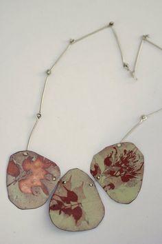 Plant Enamel Necklace OOAK Three piece by CynthiaDelGiudice etsy Ceramic Jewelry, Enamel Jewelry, Metal Jewelry, Jewelry Crafts, Jewelry Art, Handmade Jewelry, Jewelry Design, Contemporary Jewellery, Modern Jewelry