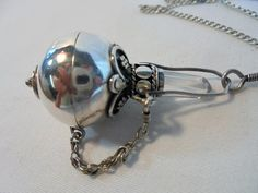 Vintage Sterling Silver Crystal Pendant Necklace by KathiJanes