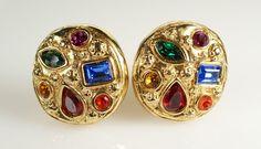 Vintage Jacky de G Jeweled Rhinestone Gold Tone Clip On Earrings Made in France #JackydeG