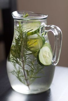 Have your own blend of cucumber water for a at home spa bathroom :)