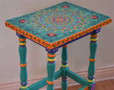 Made to Order Item. SOLD. This table is not for sale. This is a sample. Custom orders take some time to finish, please contact for details. Design might look slightly different than on display photos. Hand painted solid wood accent table. Boho style. Local pickup is also available. All artwork created by Janna Matkovski.