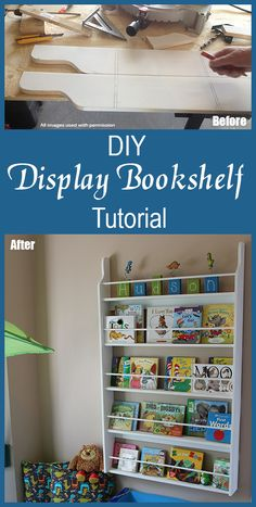 DIY Easy Display Bookcase Project: How to Make a Display Bookcase with Few Supplies- perfect bookcase that hangs on the wall and stores kids picture books easily and in an organized way!