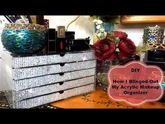 DIY Bling Acrylic Makeup Organizer - Eye Makeup Tutorials and Tips Diy Makeup Organizer, Lipstick Organizer, Make Up Organiser, Acrylic Organizer, Makeup Holder, Storage Ideas, Diy Makeup Brush, Makeup Blog