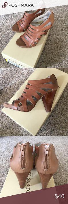 Franco Sarto Camel Sandals/Heels **NWT** Zipper back, new sandals. Never worn. Leather upper. Size 7. Franco Sarto Shoes Sandals