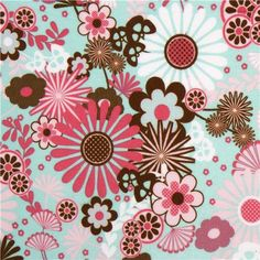 turquoise Riley Blake flannel fabric with flowers USA