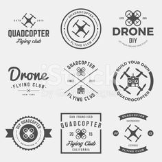 vector set of drone flying club labels, badges and designs royalty-free stock vector art